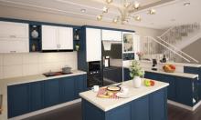 Lựa chọn táo bạo với căn bếp màu xanh coban